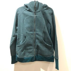 LULULEMON / striped green scuba hoodie